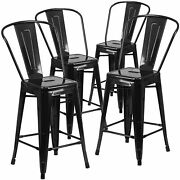 4pc Set Industrial Vintage Style Bar Height Stool With Full Back 30inch Black