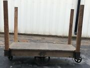 Wood Iron Authentic Antique Vintage Factory Industrial Cart Wagon Jake's