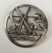 Vintage Sterling Silver 925 Dutch Scene Windmill Round Pin Brooch 20g 2 Inches