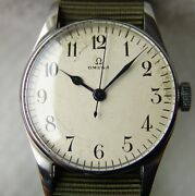 Wwii Period 33 Mm Menand039s Military Omega Pilot Good Condition Wristwatch 1944