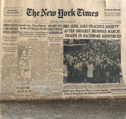 Martin Luther King Funeral 4/9/1968 Ny Times Newspaper Ralph Abernathy / Riots