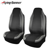2pcs Front Universal Seat Covers Grey Carbon Leather Arm Rest Truck Pocket Suv