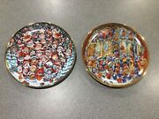 Two Bill Bell Cat Collector Plates Santa Claws And Holy Cats Franklin Mint