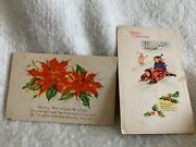 Antique Lot Of 2 Merry Christmas Postcards Postmark 1922 And 1927 Stamped 1c And 2c