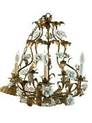 Wrought Iron Antique Chandelier With Ceramic White Roses