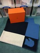 Hermes Avalon Navy/blue/white Throw Blanket Cashmere And Wool