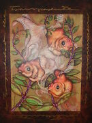 Luis Sottil Alluring Harmony Gold Koi Fish Naturalismo Art Giclee Painting Ll