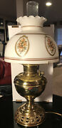 Antique Bandh Brass Victorian Oil Lamp Converted 1800's W/ Porcelain Shade Rare L1