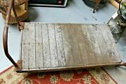 Antique Industrial Factory Cart With Hand Rail