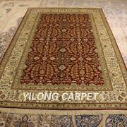 Yilong 5and039x8and039 Red All Over Handmade Silk Area Rug Antistatic Indoor Carpet 012b