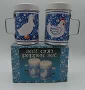 Vintage Blue And White Metal Tin Salt And Pepper Shakers With Box Chicken Cow