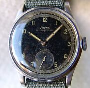 Vintage Menand039s Military 35.5mm Stowa German Good Condition Wristwatch Wwii Period