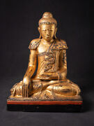 Antique Wooden Mandalay Buddha From Burma Early 20th Century