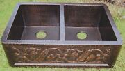 New Copper Hammered Double Bowl 50/50 Kitchen Sink 33x22x10