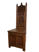 Antique French Gothic Chair/bench 19th Century Oak