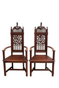 Marvelous Pair Antique French Gothic Arm Chairs, High Backs, 19th Century, Oak