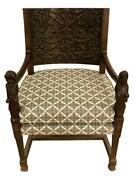 Antique English Renaissance Baroque Gothic Carved Wood Figural Arm Chair Throne