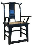 Antique Chinese Elm Wood Black Lacquer Ming Taishi Chair Throne Palace Armchair