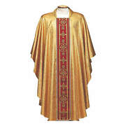 Chasuble In Broderie Fabric With Red Gallon Gold