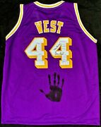 Jerry West Hand Print Signed Autographed Yellow Jersey Jsa Bb00699 Mr. Clutch