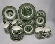 Royal Usa China Old Curiosity Shop Green Pattern 77pc Set Cup/dinner/soup/bread