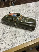 Antique 1952 Marx Wind-up Tin Military Army Staff Car In Working Condition.