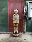 John Gallagher Carved Wooden Cigar Store Indian 4 Ft.tall Statue Fine Details