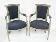 Pair Of 19th Century Continental Upholstered And Painted Fauteuil Arm Chairs
