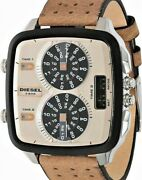 Brand New Diesel Hal Dz7303 Triple Time Zone Leather Rare Mens Genuine Limited