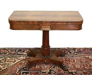 19th Century Continental Walnut Veneer Fold Over Game Table Hidden Casters