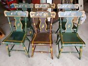 6 Antique Painted Primitive Dining Chairs - Excellent Condition
