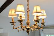 Antique Heavy Solid Brass 6 Light Chandelier Hand Forged In England Circa 1800s