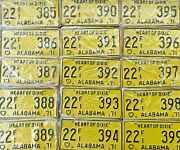 Alabama Vintage License Plate 1971 Heart Of Dixie. Lot Of 15