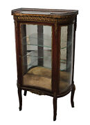 19th Century French Vitrine Glass Front Mahogany Veneer Display Cabinet