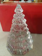 """Exquisite Large Waterford Clear 6.5"""" Christmas Tree Crystal Decoration In Box"""