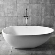 66 Inch Matte White Freestanding Oval Bathtub Stone Resin Soaking Tub With Drain