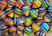 5 Pieces Of Mexican Wooden Toy Classic Spinning, Handmade Trompo, Free Shipping