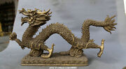 24.8 Antique Chinese Fengshui Brass Gild Lovable 12 Zodiac Animal Dragon Statue