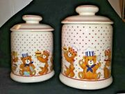 2 Ceramic Canisters Cookie Jars Happy Teddy Bear Cooks In Chef Hats