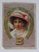 Vtg Rare Trade Card Contest Puzzle On Back Burdock Blood Bitters Woman Horseshoe