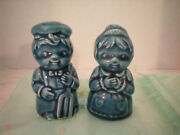 Vintage Blue Salt And Pepper Farmer And Wife Shakers Made In Japan