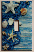 Fishnet Seashells Starfish Ocean Light Switch Outlet Wall Cover Plate Home Decor