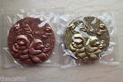 A Pair 2017 China 90mm Brass And Copper Medals - 35th An. Issuance Panda Gold Coin