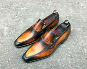 Mens Handmade Shoes Tan And Black Almond Toe Moccasin Formal Dress Casual Boots