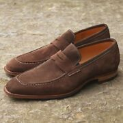 Mens Handmade Shoes Brown Suede Moccasin Business Formal Dress Casual Wear Boots