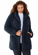 Roamanand039s Womenand039s Plus Size Double-breasted Teddy Coat