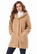Roamanand039s Womenand039s Plus Size Hooded Textured Fleece Coat
