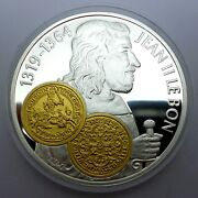 Netherlands Antilles 10 Gulden 2001 Silver Proof With Gold Trade Coin Franc D'or