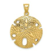 14k Yellow Gold Quarter Size Sand Dollar Charm Pendant With Cut-out Accents