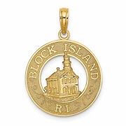 14k Yellow Gold Block Island Ri Words And Lighthouse On Round Charm Pendant